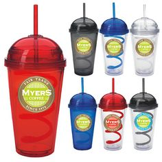 """18 oz. dome tumbler with a curly straw. Featuring a color-matching dome-shaped lid and curly straw. Features double-wall insulation and is intended for cold beverage use only. Reaches its 18 oz. capacity when filled to the rim. BPA free and measures 4"""" diameter x 7 11/16"""" h"""