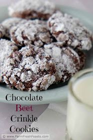 Chocolate Beet Crinkle Cookies--roasted beets in a tender and chocolatey crinkle cookie. Great Desserts, Healthy Dessert Recipes, Cookie Recipes, Delicious Desserts, Healthy Food, Chocolate Crinkle Cookies, Chocolate Crinkles, Dessert From Scratch, Beet Recipes
