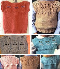 Knitting Patterns for Quick Animal Vests - Instructions for bear, bunny, owl, and cat motifs. For extra cuteness the pattern includes the motifs for the back so you can knit a bunny with a pompom tail or kitten with a tail on the back of the vest. Rated very easy by Ravelrers. Pictured owl vest by alicep1222. Pictured bunny vest by JenniferChristine