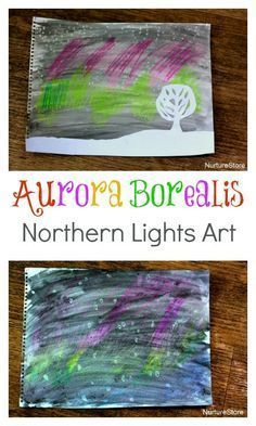 Northern lights craft, northern lights art project for kids, Northern Lights aurora borealis unit