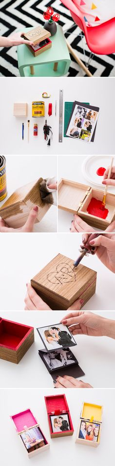 Looking for a homemade Valentine's Gift? Make this pop-up photo box. …