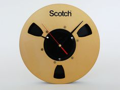 Vintage Scotch Tape Reel Clock / Upcycled Gold Black by PopBam