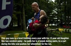 dad brings daughter on triathlon - collection of moments when someone made a difference