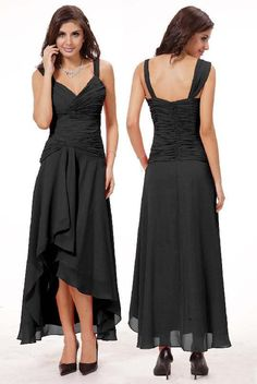 A-Line Chic & Sexy V-neck Floor-length Chiffon Cocktail Dress