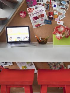 Great idea for a small space! This is a picture of a floating desk underneath a staircase I found browsing HGTV! The roll of cork board as the black splash and hidden storage within the desk makes for an amazing addition to any condo or loft!