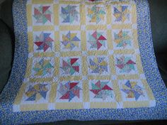 Lap Quilt Sofa Throw Dorm Quilt Blanket by ForgetMeNotQuilteds