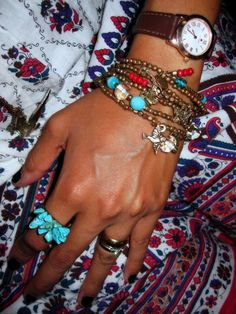my fave turquoise DIY spiked ring with Boho charm bracelets from Lefties
