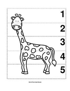 Number Sequence Preschool B&W Picture Puzzle - Giraffe from Worksheet Teacher Preschool Jungle, Numbers Preschool, Preschool Worksheets, Preschool Learning, Learning Activities, Preschool Activities, Animal Worksheets, Animal Activities, Giraffes Cant Dance