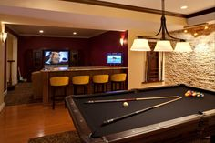 Black felt pool table