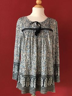 LUCKY BRAND Blue Floral Ethnic Border Print Top Size L #LuckyBrand #KnitTop #Casual
