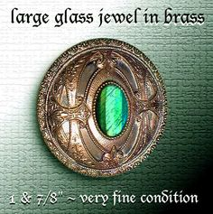 Image Copyright by RC Larner ~ Large Late 19th C. Faux Emerald Glass Jewel in Brass Button ~ R C Larner Buttons at eBay & Etsy         http://stores.ebay.com/RC-LARNER-BUTTONS