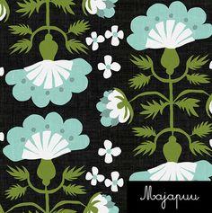Digitrikoo: Kasvisto, musta minttu, Print Design Leena Renko Plant Leaves, Print Design, Kids Rugs, Knitting, Fabric, Cards, Sewing, Tejido, Print Layout