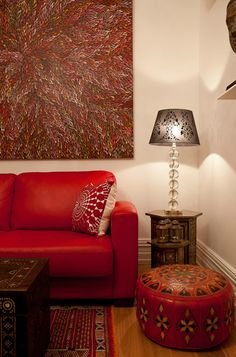 Another beautiful piece of Australian Aboriginal art in a cosy interior