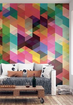 Create a feature or statement wall with some geometric wallpaper and give your room the wow factor.  Bright, sharp colours will really set the tone for the room makeover! Try this fun, new home decor trend this season.