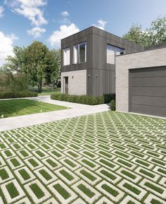 Created with Aquastorm, this driveway is ready for heavy rainfall! Learn about our permeable pavers here! Permeable Driveway, Driveways, Large Pavers, Grass Pavers, Urban Heat Island, Driveway Design, Driveway Ideas, Dame Nature, Paver Stones