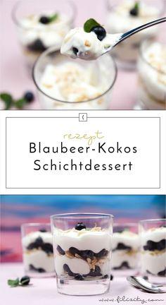 Blaubeer-Frischkäse-Schichtdessert mit Mandelkrokant und Kokos - Ein cremiger-fruchtiges Sommer-Dessert mit Geling-Garantie! Hier geht's zum Rezept...