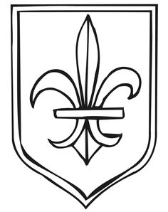 This medieval coloring page features a coat of arms with a Fleur-De-Lis. Kids interested in medieval times will love coloring this page. Truck Coloring Pages, Coloring Book Pages, Printable Coloring Pages, Coloring Pages For Kids, Coloring Sheets, Shield Drawing, Medieval Shields, Medieval Party, Knight Party