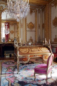 The King's interior cabinet. Louis XV often came here, and it was from the balcony of this room that, with tears in his eyes, he watched the departure of the funeral procession taking away Mme de Pompadour, one winter evening in 1764. Château de Versailles