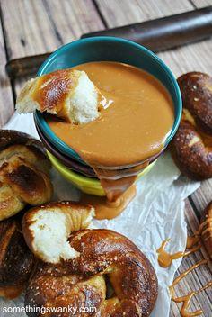 Homemade Soft Pretzels with Brown Sugar Butterscotch Ganache.I just want to make the pretzels! Just Desserts, Delicious Desserts, Dessert Recipes, Yummy Food, Dessert Dips, Yummy Treats, Sweet Treats, Homemade Soft Pretzels, Little Lunch