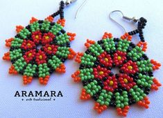 Mexican Huichol Beaded Peyote Flower Necklace and Earrings set Mexican necklace – Mexican Jewelry – Huichol Necklace Mexicana Huichol Peyote flor de collar y pendientes conjunto Seed Bead Jewelry, Seed Bead Earrings, Beaded Earrings, Seed Beads, Beaded Jewelry, Art Perle, Bead Sewing, Mexican Jewelry, Native American Beadwork