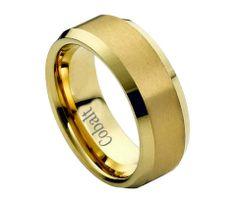 Cobalt 18K Gold Plated Brushed Center with Polished Beveled Edges