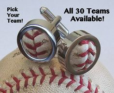 Game Used Baseball Cufflinks on Etsy, $49.00