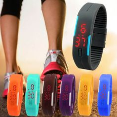 nice Essential 7Color Blue/Yellow Ultra Thin Men Girl Sports Silicone Digital LED Sports Wristwatch Bangle Bracelet Dress Watches