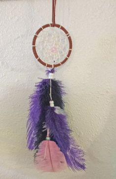 "Handmade 3"" Dream Catcher, Legend of the Dreamcatcher, Black Purple Native American Indian Wall Hanging Decor, Feathers, Good Dreams"