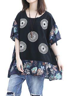 Camisetas Floral de Algodão Em torno do pescoço Meia manga