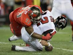 Thursday Night Football: Falcons vs. Buccaneers:  43-28, Falcons  -  November 3, 2016  -     Tampa Bay Buccaneers defensive tackle Gerald McCoy (93) forces Atlanta Falcons quarterback Matt Ryan (2) to fumble during the second quarter of an NFL football game Thursday, Nov. 3, 2016, in Tampa, Fla.