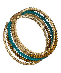 Blu Bijoux Turquoise and Gold Beaded Spiral Bracelet #maxandchloe