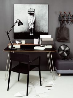 Scandinavian style office with wallpaper