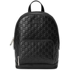 Gucci Signature Leather Backpack ($1,690) ❤ liked on Polyvore featuring bags, backpacks, black, genuine leather backpack, leather backpack, leather knapsack, gucci and leather daypack