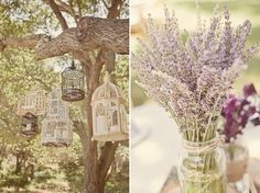 Lavender in jars for simple yet beautiful table arrangements -- All flowers could be pansies, lavender, and baby's breath?  HOW CHEAP!?!