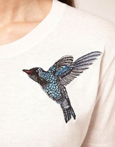 colibríes bordados