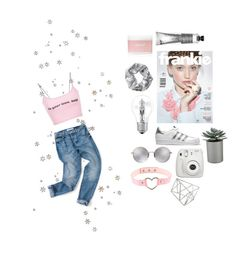 """""""metallic baby"""" by fluffypjm ❤ liked on Polyvore featuring Linda Farrow, hif, Osram, adidas Originals, Crate and Barrel, Fujifilm, Aerie, Monki, Topshop and Pink"""