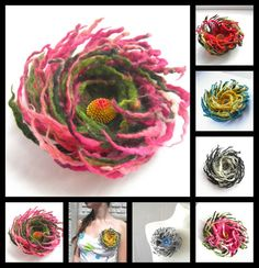 Hey, I found this really awesome Etsy listing at https://www.etsy.com/listing/93147493/felt-flower-brooch-pink-green-wool-felt