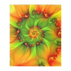 #Posters #Metal #Art - #Hot Summer Green Orange Abstract Colorful Fractal Metal Print