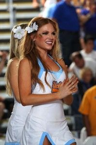 2013 photo gallery of UCLA Bruins cheerleaders from the University of California, Los Angeles.