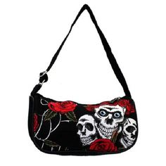 Small Skull & Roses Purse Shoulder Bag Cocktail Canvas Punk Rock Gothic by Leema by NYCUrbanWear on Etsy