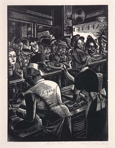 Soir Charmant  Fritz Eichenberg  Rush Hour (Myers Cafeteria) ca. 1935-1936 wood engraving