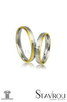 βέρες γάμου - αρραβώνων, από ασήμι, επιπαλατινωμένο και κίτρινο χρυσό / AS33 logo / 3.50 mm #βέρες_γάμου #βέρες_αρραβώνων #κοσμήματα_χαλάνδρι