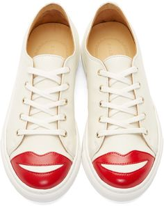 Charlotte Olympia Off White & Red Kiss Me Sneakers
