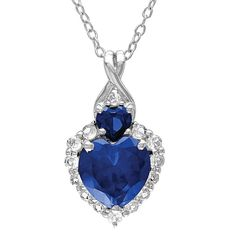 Allura 2.53 CT. T.W. Sapphire and .39 CT. T.W. White Sapphire Heart Necklace with Diamonds in Sterling Silver, Women's