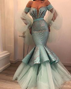 luxury off the shoulder evening dresses long flare sleeve turquoise blue sparkly mermaid evening gown 2020 Mermaid Evening Gown, Mermaid Prom Dresses, Homecoming Dresses, Evening Dresses, 50s Dresses, Denim Dresses, Evening Outfits, Mermaid Gown, Elegant Dresses