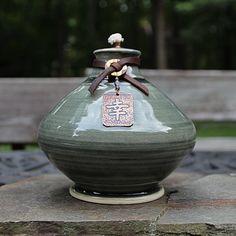 Happiness Kanji Ceramic Oil Lamp Tiki Torch by ShopPrettyPatina