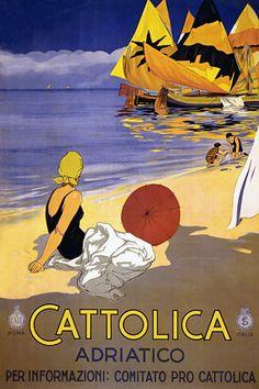 Cattolica. Adriatico.  Italy  1920s  http://www.vintagevenus.com.au/products/vintage_poster_print-tv123