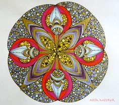 Picture from Creative Coloring Mandalas by Valentina Harper; Tangle Doodle, Doodles Zentangles, Mandala Coloring, Mandala Art, Sacred Geometry, Tangled, Fractals, Painted Rocks, Coloring Pages
