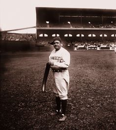 Babe Ruth - NY Yankees - Horses around with a balloon in the Comiskey outfield (1920)