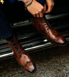 Brown Wingtip Oxfords High Ankle Formal Wear Handmade
